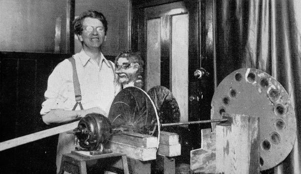 John Logie Baird, the inventor of television, here pictured with the ventriloquist's dummy head, whose image was transmitted from London to New York by wireless