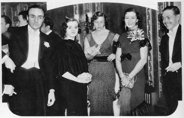 John Dennis Profumo (1915 - 2006) British conservative politician pictured here as a young man at the opening night of Punch's Club at the Dorchester in October 1934. He is pictured to the left of the picture and noted as 'Jack Profumo&#39