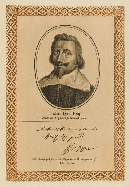 JOHN PYM radical statesman, a leading figure in the political affairs surrounding the onset of the English Civil War with his autograph