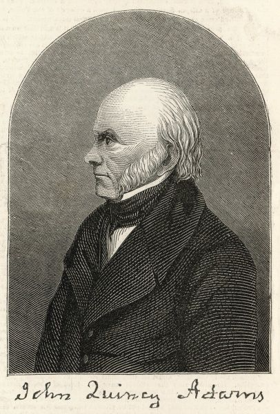 Engraved portrait of John Quincy Adams (1767-1848), the American politician and statesman, pictured c.1845