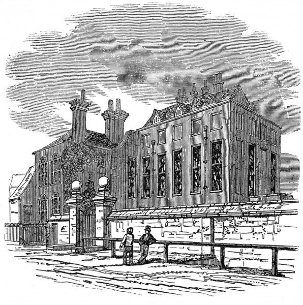 Engraving showing the exterior of John Tradescant's house in South Lambeth, London, 1846. John Tradescant (c.1570s - 1638) was a Dutch born traveller, naturalist and gardener