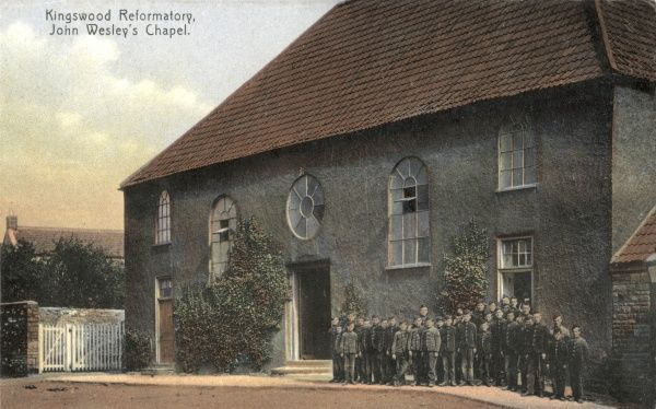Uniformed inmates stand outside John Wesley's Chapel at the Kingswood Reformatory near Bristol, opened in 1854 and one of the first such institutions. After 1933 it became an Approved School known as the Kingswood Training School for Boys