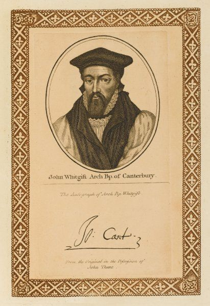 JOHN WHITGIFT churchman, archbishop of Canterbury with his autograph