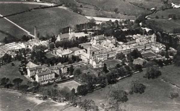 Aerial view of the Joint Counties Asylum, Carmarthen, Wales, erected in 1865 as the Carmarthen, Cardigan and Pembroke County Asylum. It later became known as the Joint Counties Mental Hospital and then as St. David's Hospital
