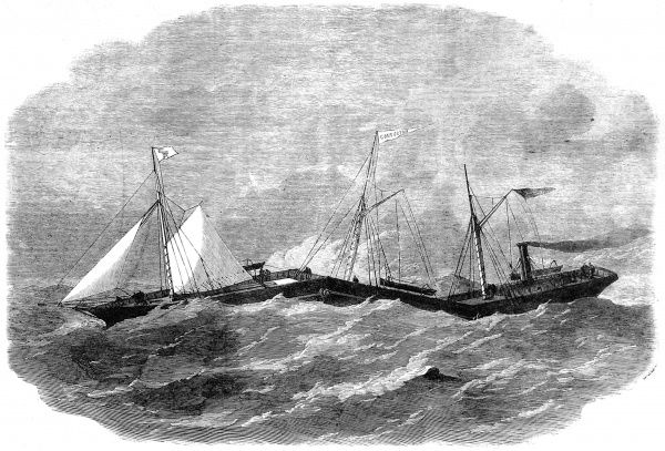 Engraving of the 'Jointed Iron Steam-ship Connector', from the Illustrated London News, August 1863