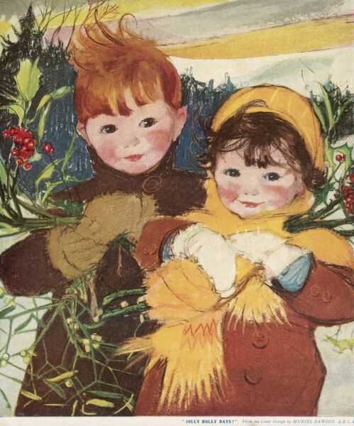 Two rosy-cheeked children, wrapped up warm, carry bunches of holly through the snow
