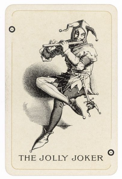 A classic image of a jester, wearing cap and bells,playing a flute, a ninny stick, or jester's wand, attached to his belt