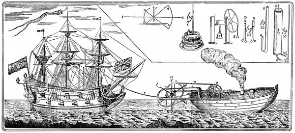 Engraving of Jonathan Hulls' steam tug-boat, which he patented in 1736. It is doubtful whether Hulls ever had the chance to build his tug-boat, much less use it to haul a fully rigged ship