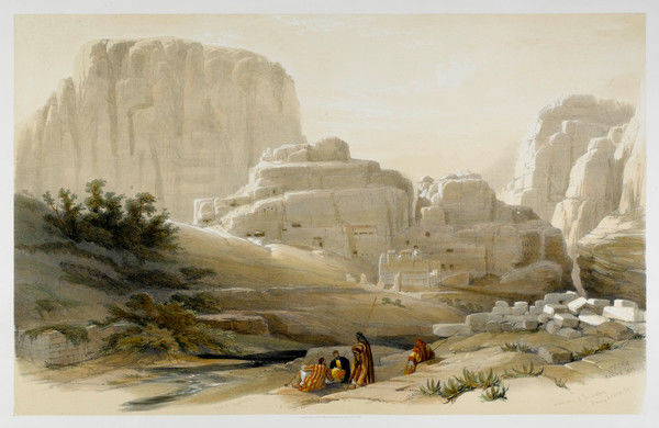 The Acropolis from the lower end of the valley. A group of people rest by the river