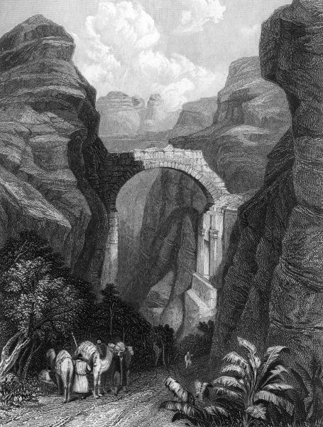 Petra: Edom, a triumphal arch across the ravine which forms one of the approaches to Selah or Petra Date: 1835