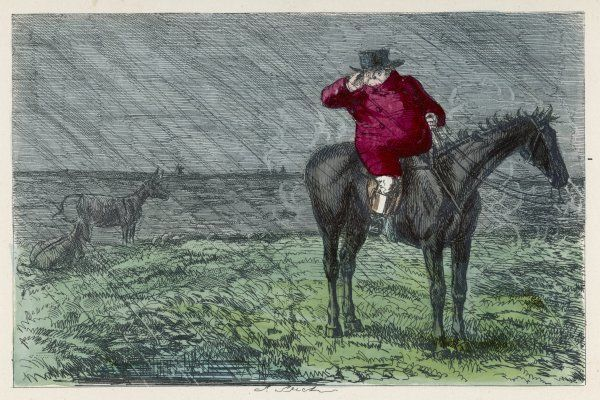 Or 'Mr. Jorrocks's Hunt'; Jorrocks out hunting on a wet day