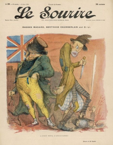 A perfidious John Bull in league with Jack the Ripper - this is the true nature of England. Satire on Cecil Rhodes and Chamberlain at the time of the Entente Cordiale