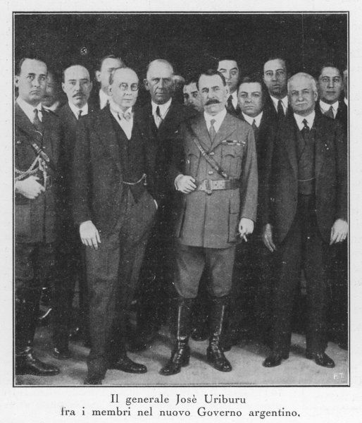 General Jose Uriburu and members of the new Argentinian government after Uriburu's military coup unseated the democratically elected president Yrigoyen