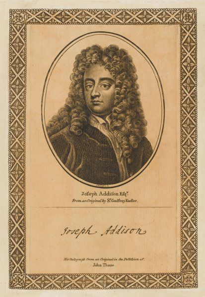 JOSEPH ADDISON writer and journalist with his autograph