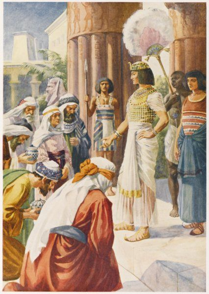 Joseph greets his brothers and behaves very magnanimously to them, considering how they had treated him