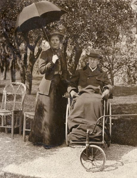 Joseph Chamberlain (1836-1914), Liberal politician, with his wife Mary at Cannes, France. He was convalescing following a stroke, and is seen here in a bath chair