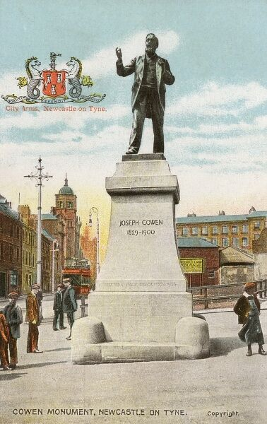 Joseph Cowen (1829-1900) - Politician and Journalist - Statue (Sculptor John Tweed) on Fenkle Street, Newcastle-upon-Tyne. Member of Parliament for Newcastle between 1865 and 1873. Date: circa 1906