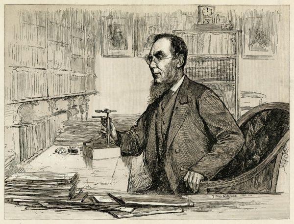 SIR JOSEPH DALTON HOOKER Naturalist and director of Kew Gardens; depicted here in his office at Kew Date: 1817 - 1911