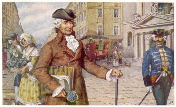 JOSEPH HAYDN Austrian musician and composer out walking: he carries a score under his arm, and has just bought some flowers
