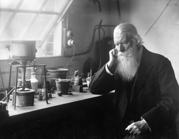 Sir Joseph Wilson Swan (1828-1914), English chemist, inventor and industrialist. As well as inventing the dry plate photographic process, he gave his first successful demonstration of a light bulb in 1879. Within four years he was manufacturing 10