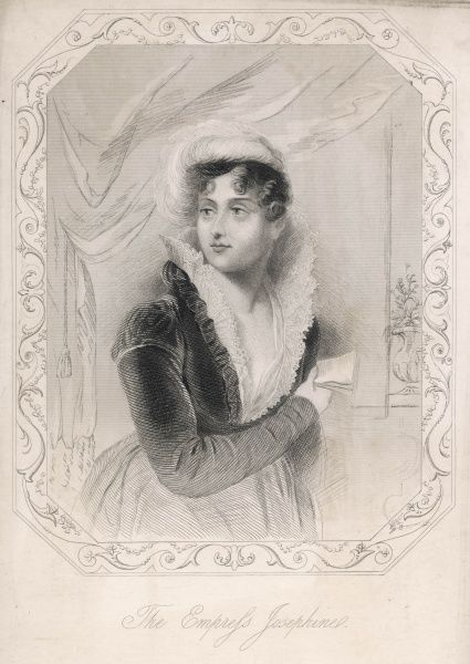 MARIE JOSEPHE ROSE TASCHER de BEAUHARNAIS empress of Napoleon I in an unusually informal pose, she holds a letter, no doubt from her husband away at the wars