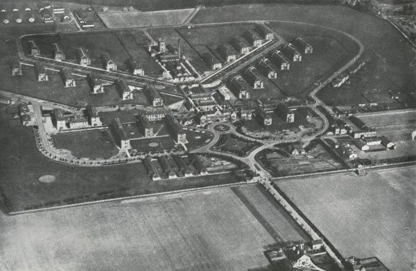 Aerial view of the echelon-shaped ward layout of the Joyce Green Hospital at Long Reach near Dartford, Kent. The hospital, opened in 1903 by the Metropolitan Asylums Board, was initially used for smallpox patients, brought from London by river ambulance