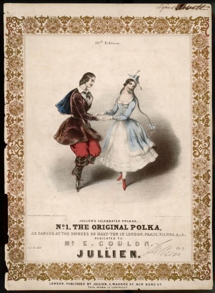 The polka, introduced in 1844, is 'danced at the soirees du haut ton in London, Paris, Vienna etc' and rapidly becomes a staple of every fashionable ballroom