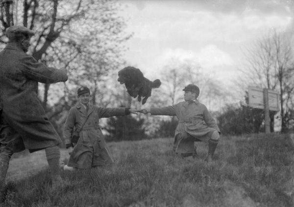 Two schoolboys lock hands and a sheepdog is taught to jump inbetween them. Date: early 1930s