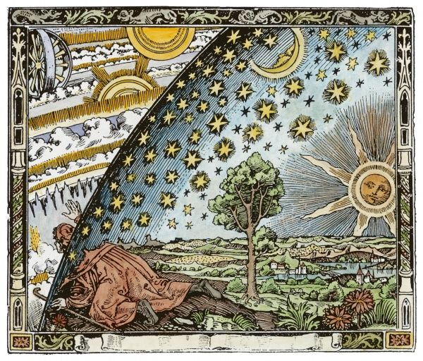 A medieval missionary finds a place where the Earth touches the Heavens. (Note that this is not a medieval illustration but a very clever 19th century pastiche !)