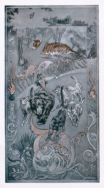Baloo the bear, with Mowgli seated on his back, runs with wolves whilst Shere Khan the tiger watches in the background
