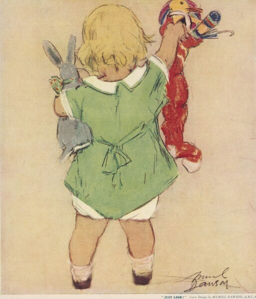 A back view of a little blonde girl in a green dress discovering the wonderful toys and gifts in her Christmas stocking