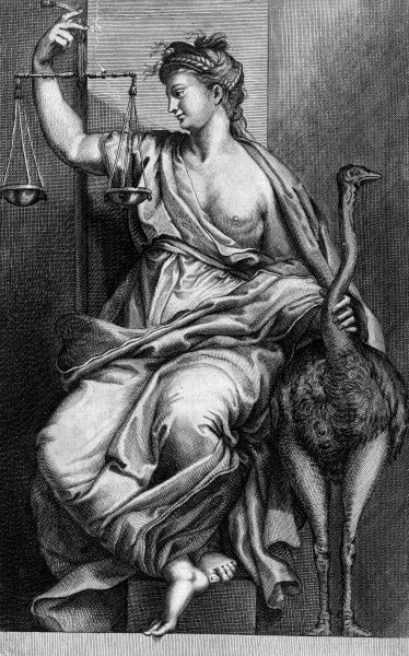Justice holds the scales... Date: 17th century