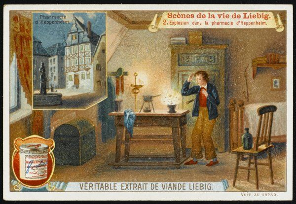 JUSTUS VON LIEBIG German scientist experimenting in the chemist's shop where he works - he causes an explosion