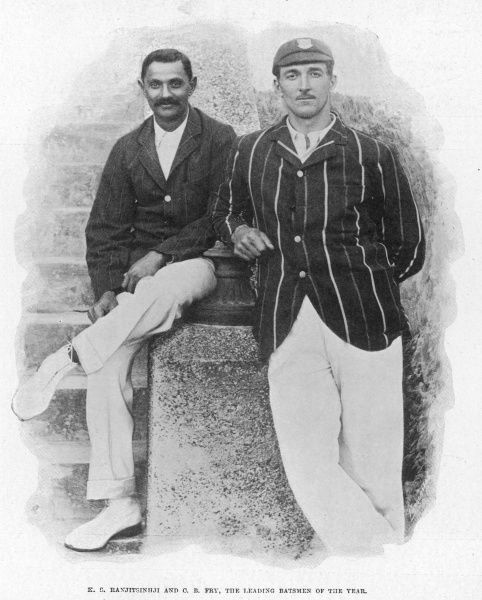 The leading batsmen of the year in 1901, cricketers K.S. Ranjitsinhji (1872-1933) and C.B. Fry (Charles Burgess Fry 1872-1956)