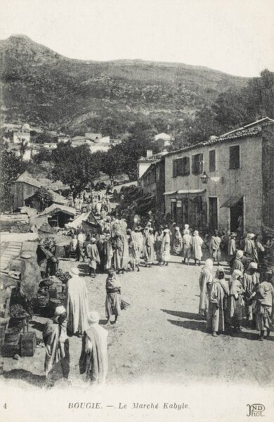 The Kabyle Market at Bejaia (Bougie), Algeria. The Kabyle people are Berbers from North Eastern Algeria - estimated population today of 5 million individuals