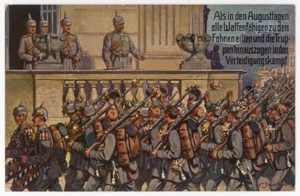 Kaiser Wilhelm II watches from a balcony as German infantry, many of whom raise their helmets in salute, march off to the front line