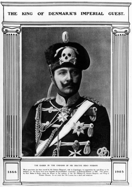 Kaiser Wilhelm II (1859-1941), German Emperor, seen here in the uniform of the Death's Head Hussars (the 7th Hussars). Date: circa early 20th century