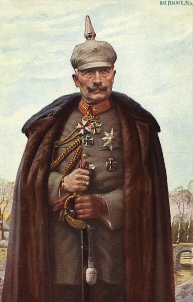 Kaiser Wilhelm II (1859-1941), German Emperor, in uniform during the First World War. Postcard reproduction of a painting by Fischer. Date: 1914-1915