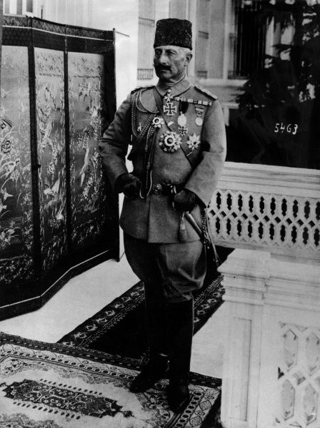 Kaiser Wilhelm II (1859-1941), German Emperor, seen here in Constantinople wearing Turkish style uniform, including a fez, during the First World War. Date: circa 1917