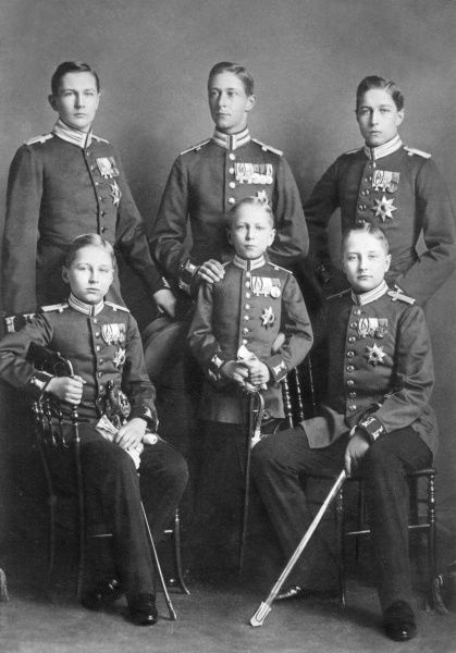 The six sons of Kaiser Wilhelm II pictured in 1900: (l to r standing) Eitel Friedrich (1883-1942), Crown Prince Wilhelm (1882-1951), Adalbert (1884-1948); (in front) Oskar (1888-1958), Joachim (1890-1920) and August Wilhelm (1887-1949), all