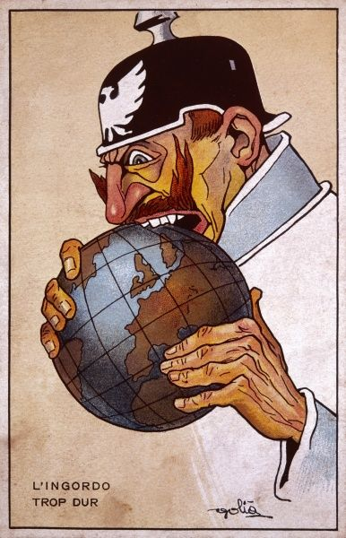Kaiser Wilhelm II is portrayed as greedy for foreign expansion and empire building, biting into the globe, but finds it too difficult. The caption reads 'L'Ingordo - trop dur', 'The glutton - too hard&#39