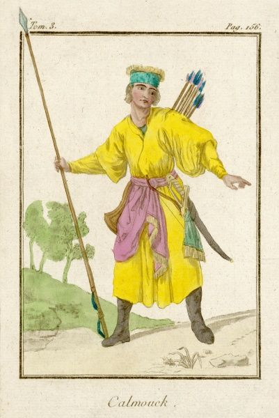 A Kalmuck equipped for hunting with a long spear, bow and arrows and a sword