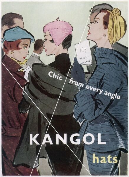 Advertisement for Kangol hats showing three chic, elegant women wearing Kangol hats (of course) at an event, possibly a private view at an art gallery