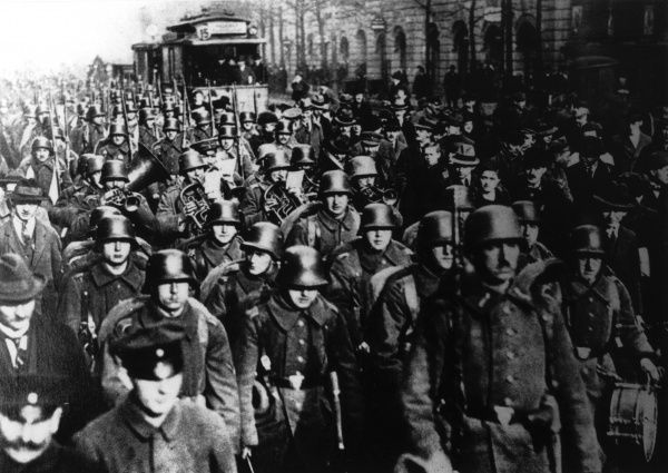 A conspiracy against the Weimar Republic by right-wing Germans. In this photograph troops march into Berlin