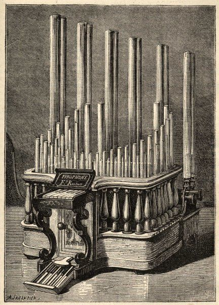 Frederic Kastner's instrument is a kind of organ, with keyboard and pipes, but the sound is produced by flames within the pipes