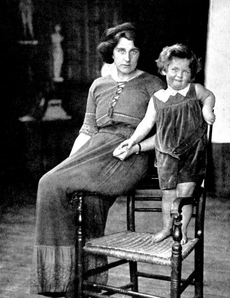 Photograph of Kathleen Bruce, wife of Robert Falcon Scott, and their son, Peter Markham Scott, in Kathleen's studio, 1913. Peter Scott (1909-1989) was later better known as an artist and ornithologist