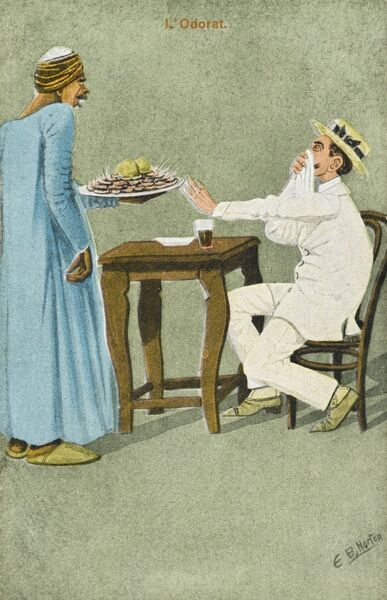 "A British Tourist wearing a straw boater and white suit, takes offence at ""the smell"" of the Egyptian seafood dish he is presented with, holding out his hand in refusal and holding his napkin to his face!"