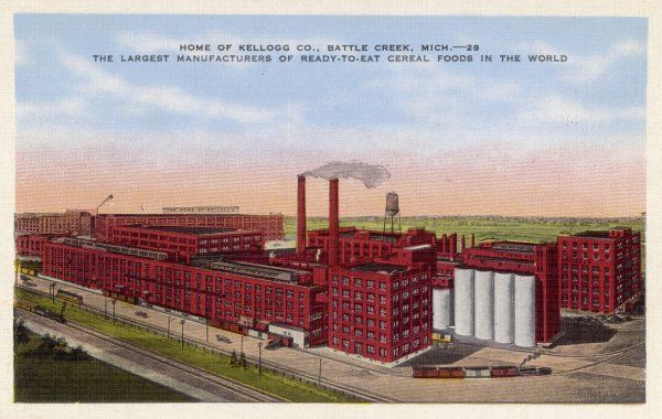 KELLOGG'S CORNFLAKES The factory at Battle Creek, Michigan, 'the largest manufacturers of ready-to-eat cereal foods in the world&#39