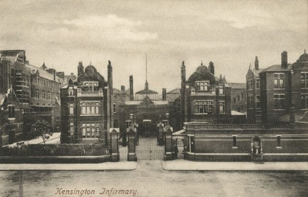 The entrance to Kensington Infirmary on Wright's Lane (now Marloes Road) in West London. The infirmary, designed by Thomas W Aldwinckle, was built in 1893 by the poor law parish of St Mary Abbots, adjacent to its workhouse at the same location