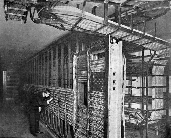 The main wire distribution frame at Kensington telephone exchange shortly after it opened in 1902